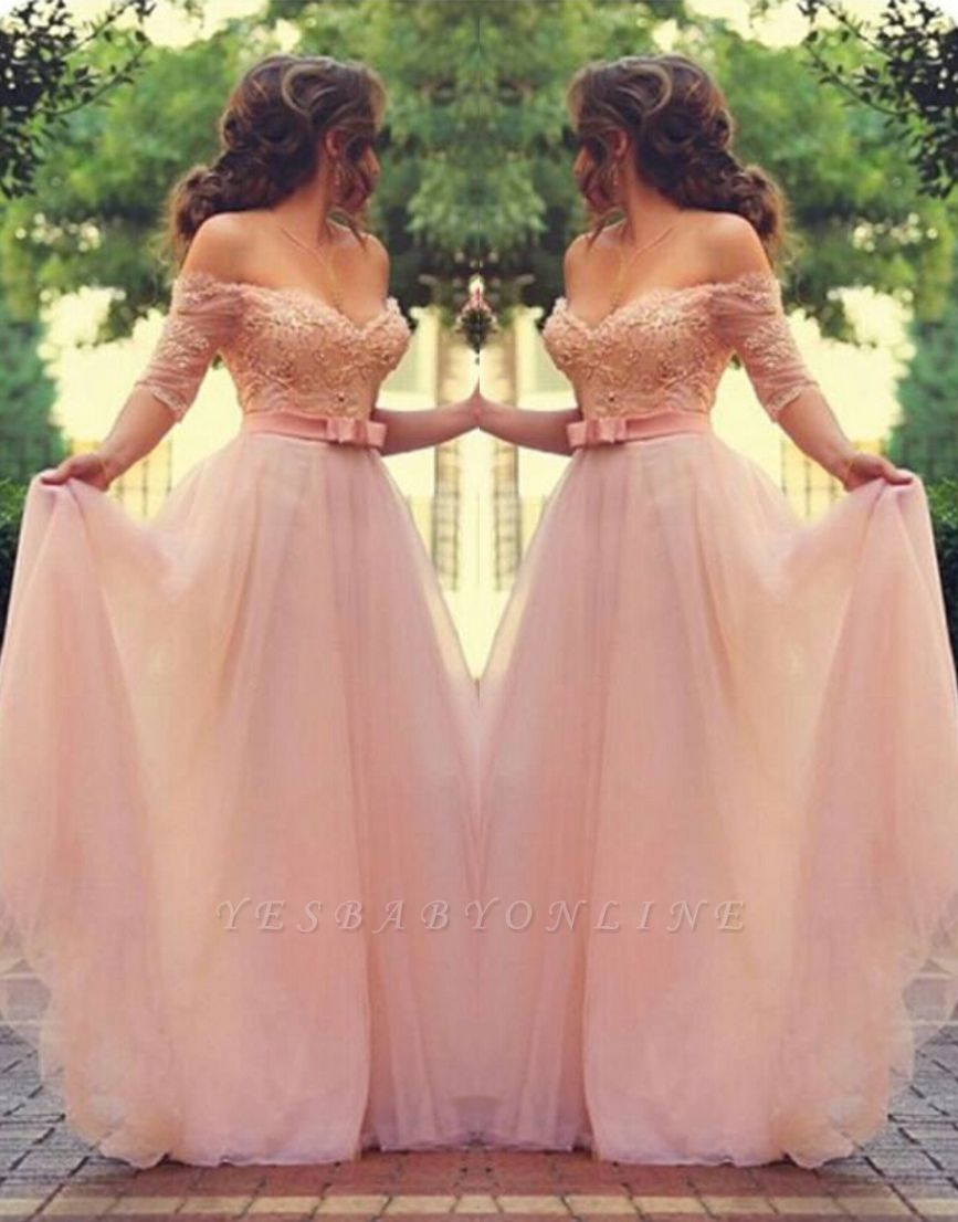 Elegant Pink Prom Dresses Off-the-Shoulder Beaded A-line Evening Gowns