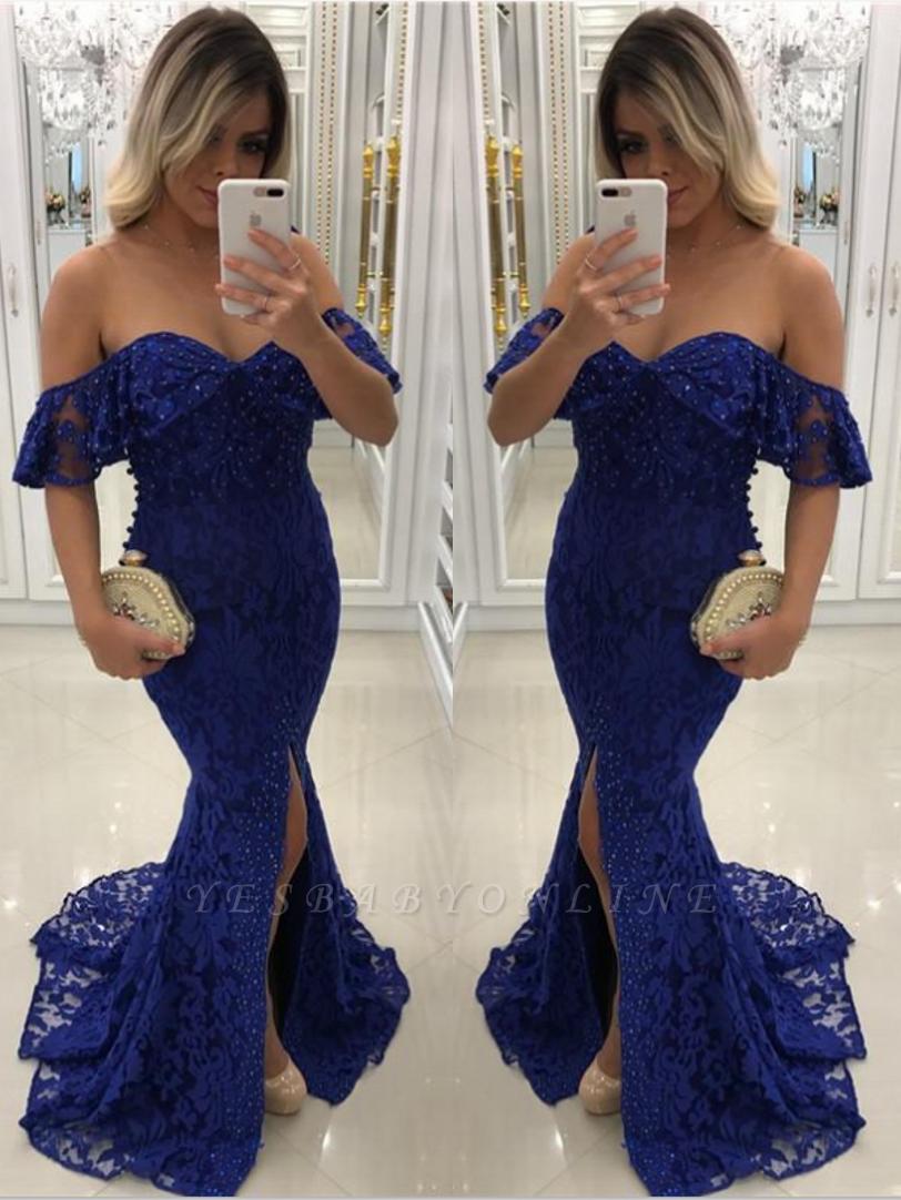 Sweetheart Off-shoulder Floor-length Split Pearls Lace Mermaid Prom Dresses