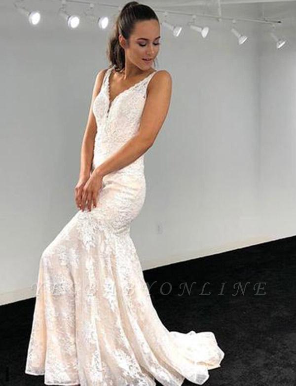 Elegant A-Line V-Neck Lace Applique Sleeveless White Evening Dress