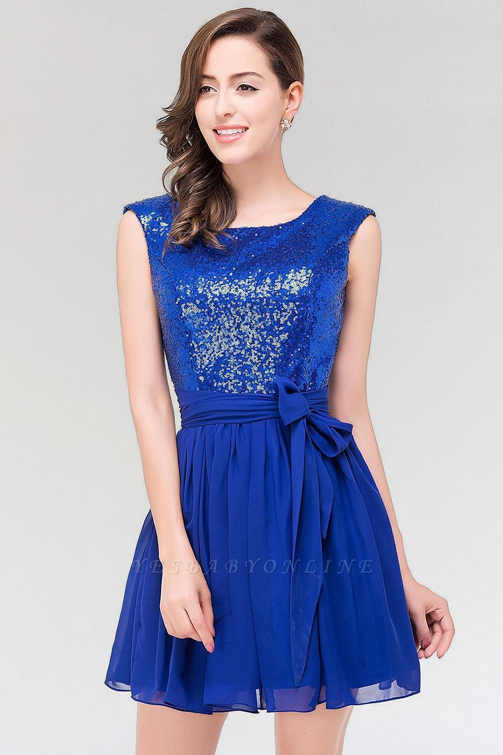 A-line  Square Sleeveless Bow Ruffles Mini Bridesmaid Dress with Sequins