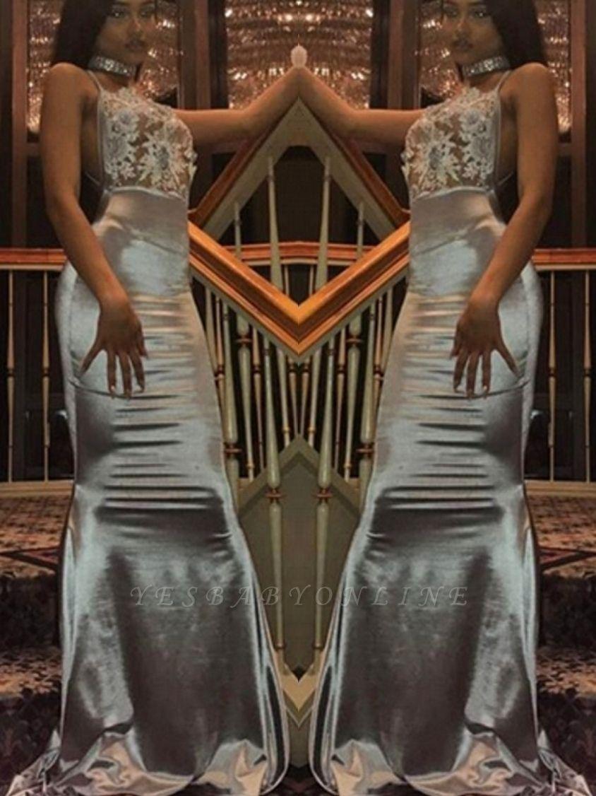 Halter Mermaid Backless Prom Dresses | Long Lace Sleeveless Evening Dresses