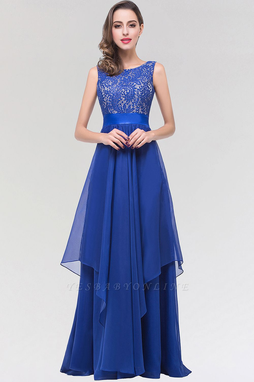A-line  Lace Jewel Sleeveless Floor-length Bridesmaid Dresses