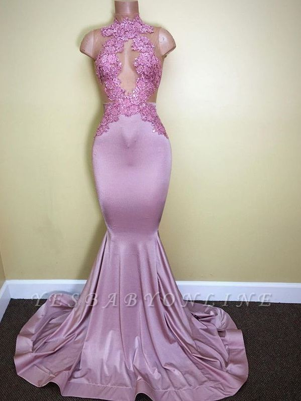 2019 Lilac Mermaid Prom Dresses Sheer Lace Appliques Sleeveless Evening Gowns