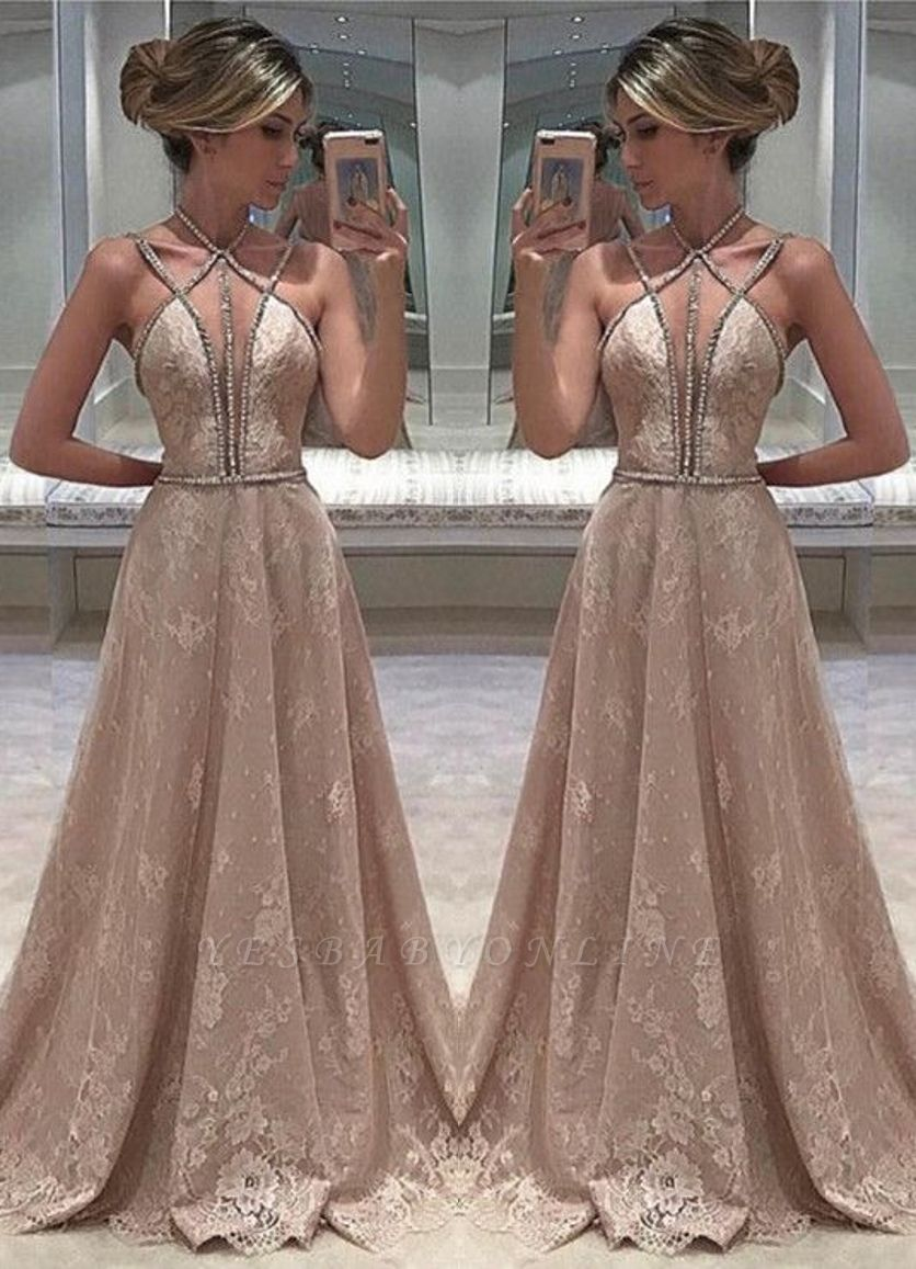 Open-Back Long Sexy Lace Straps Sleeveless Beaded Evening Dress