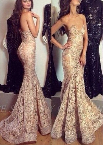 Sexy Champagne Mermaid Prom Dresses Sweetheart Neck Long Evening Gowns