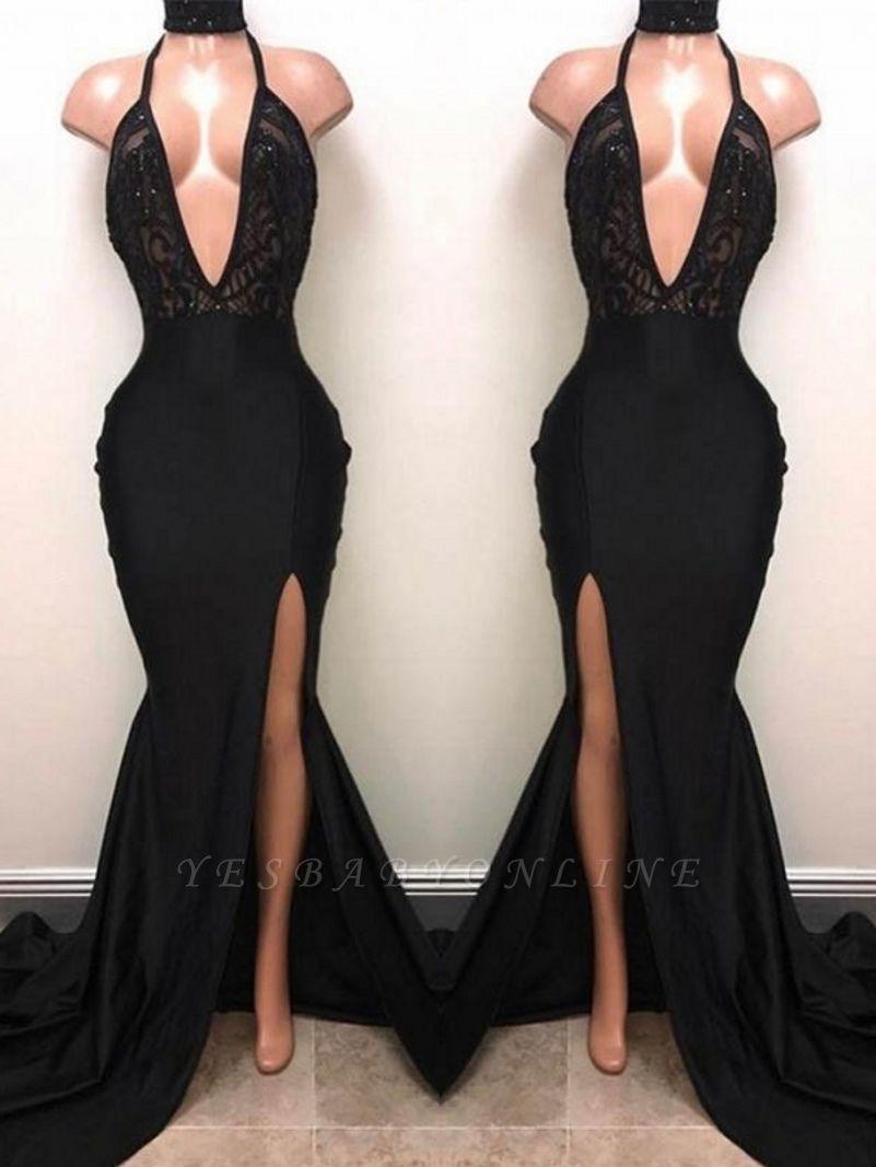Halter V-neck Long Prom Dresses | Black Sleeves Slit Evening Gowns