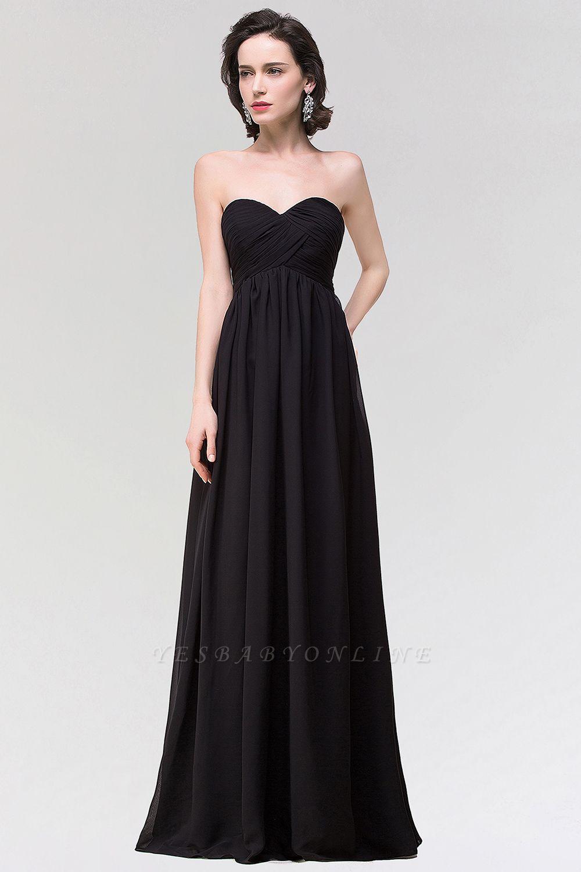 A-line  Strapless Sweetheart Sleeveless Floor-Length Bridesmaid Dress with Ruffles