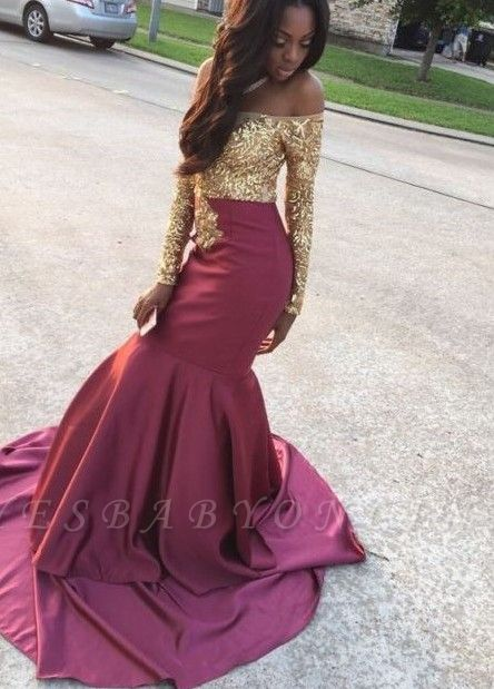 Burgundy Mermaid Prom Dresses Off the Shoulder Gold Appliques Long Sleeves Evening Gowns