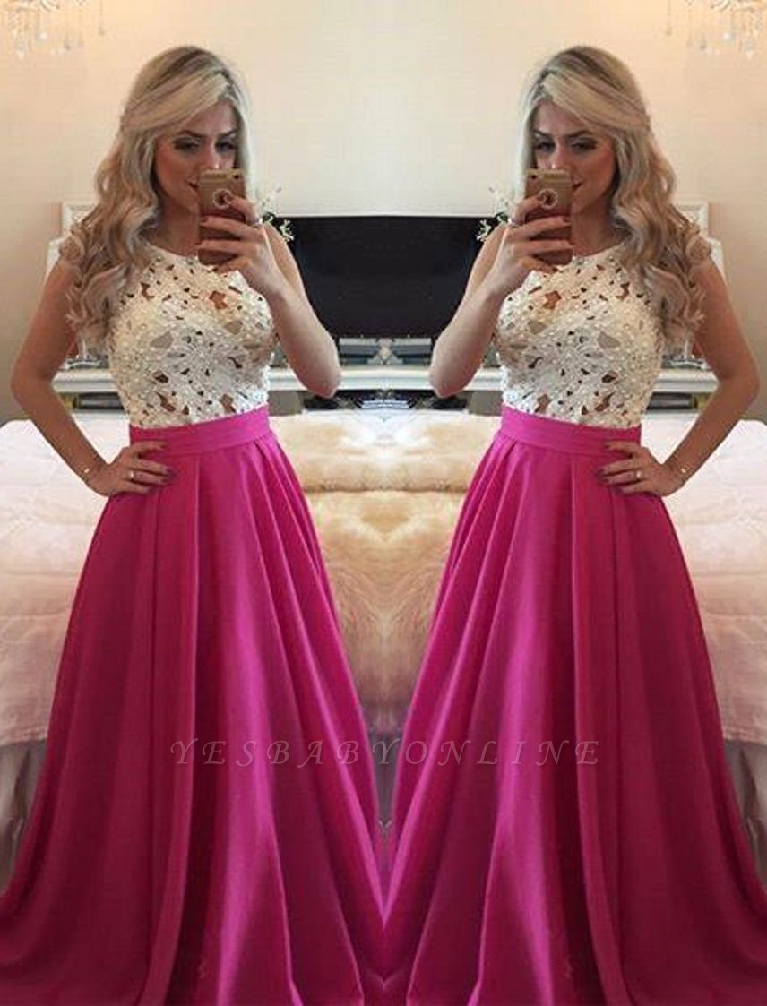 Sleeveless Long A-line Gorgeous Pearls Fuchsia Lace Evening Gowns