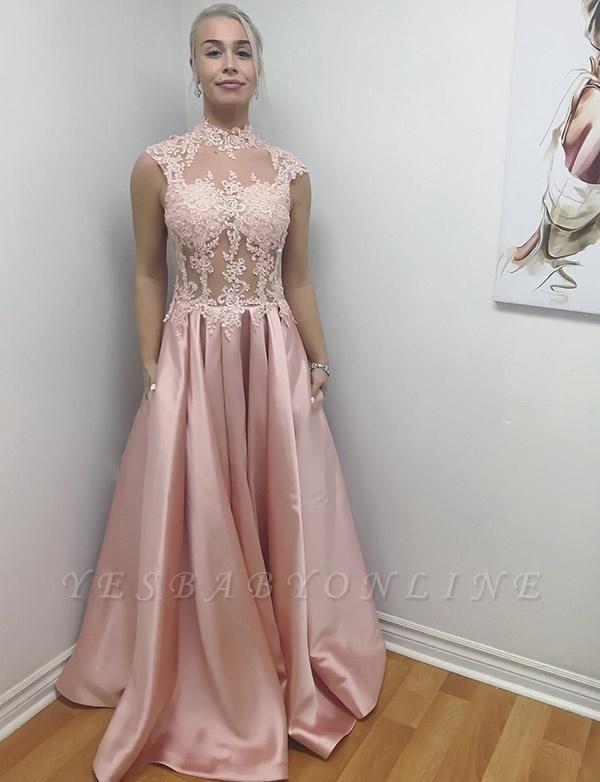 Unique High Neck A-Line Sleeveless Appliques Floor-Length Evening Dress