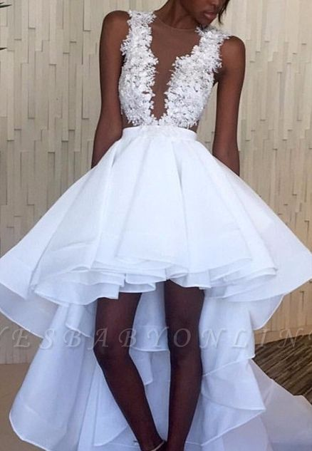 Hi-Lo White Lace Ruffles Sleeveless Appliques Wedding Dress
