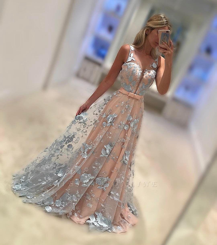Sleeveless V-Neck Belt Applique  Sweep Train Evening Dresses