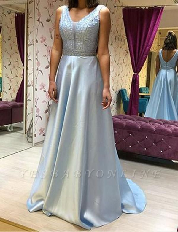 Elegant  A-Line Beading V-Neck Sleeveless Floor-Length Prom Dress