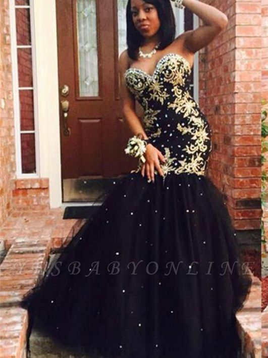 Strapless Sweetheart Mermaid Prom Dresses | Appliques  Long Evening Gowns