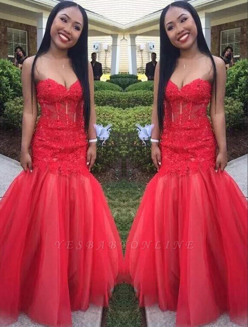 Floor-Length Tulle Sweetheart Red Mermaid Lace Sleeveless Prom Dresses