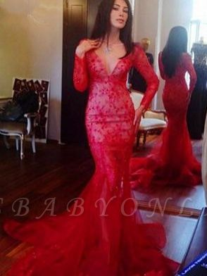 Red Long-Sleeves Appliques  Sexy Mermaid Prom Dress