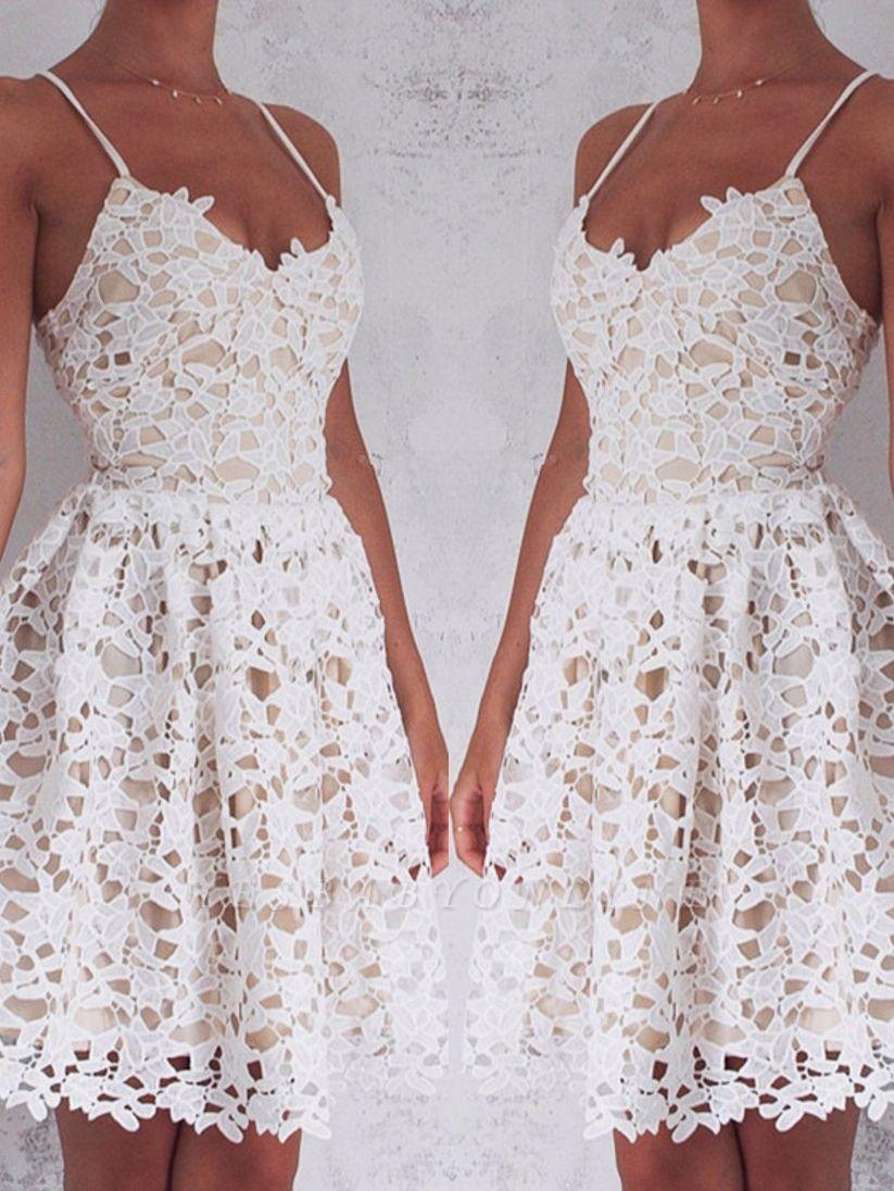 2019 Short Lace Homecoming Dresses Spaghettis Straps Mini Party Dresses