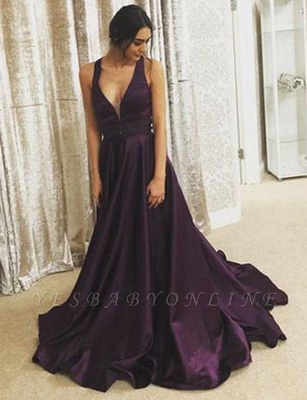 Stunning  A-Line V-Neck Sleeveless Floor-Length Prom Dress