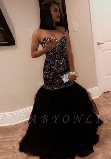Sweetheart Strapless Mermaid Prom Dresses | Beading Tulle Black Evening Gowns
