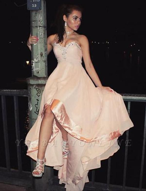 Charming Sleeveless Appliques A-Line Sweetheart High Low Prom Homecoming Dress