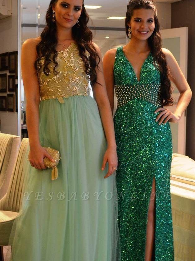 Side-Slit Criss-Cross Green Sequined Crystal V-Neck Prom Dresses