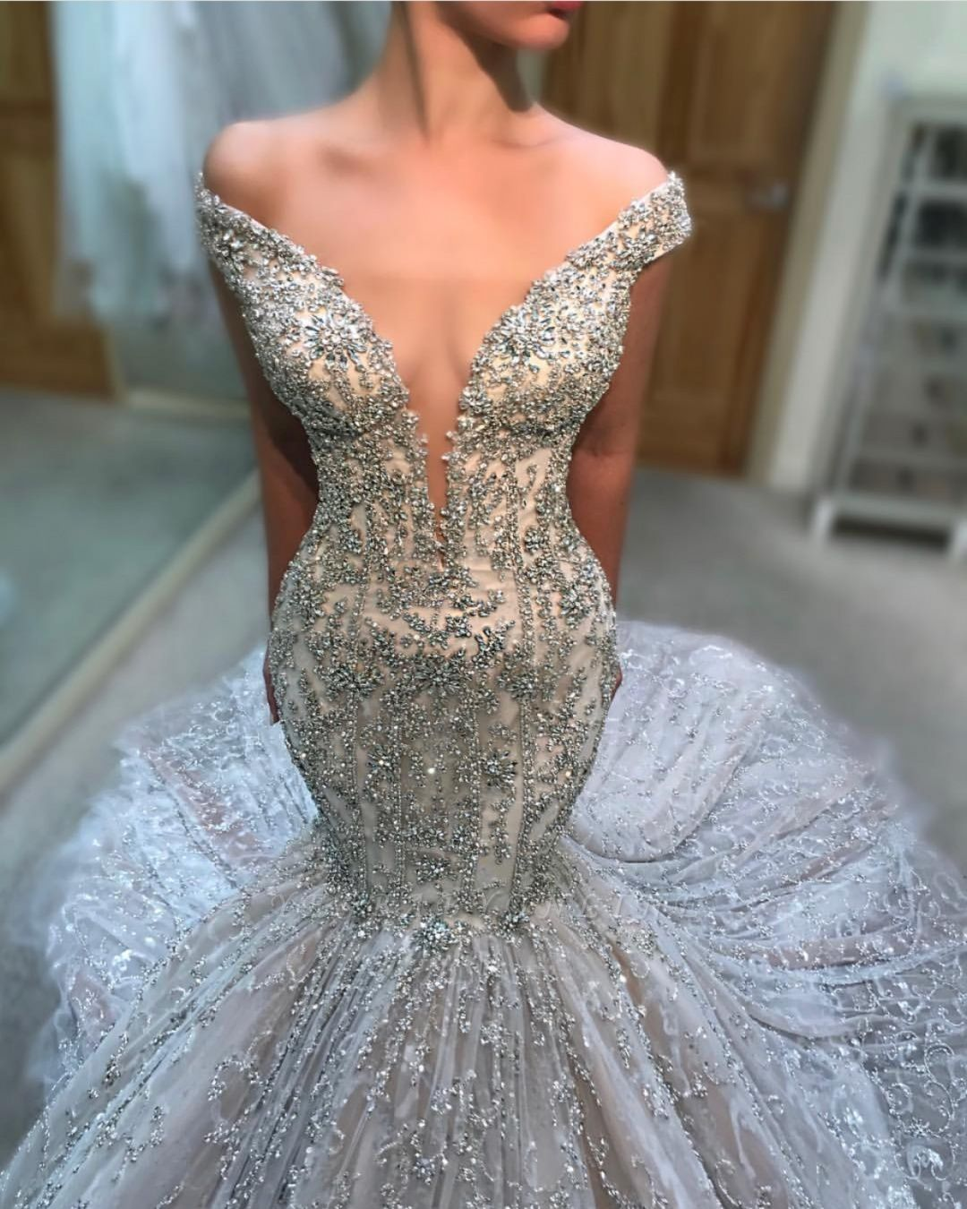 Charming Off-the-Shoulder Tulle Beaded Sexy Mermaid Wedding Dress BC2707