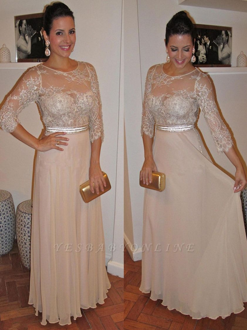 Sleeves Floor-Length Beadings Modest Lace A-Line Prom Dress