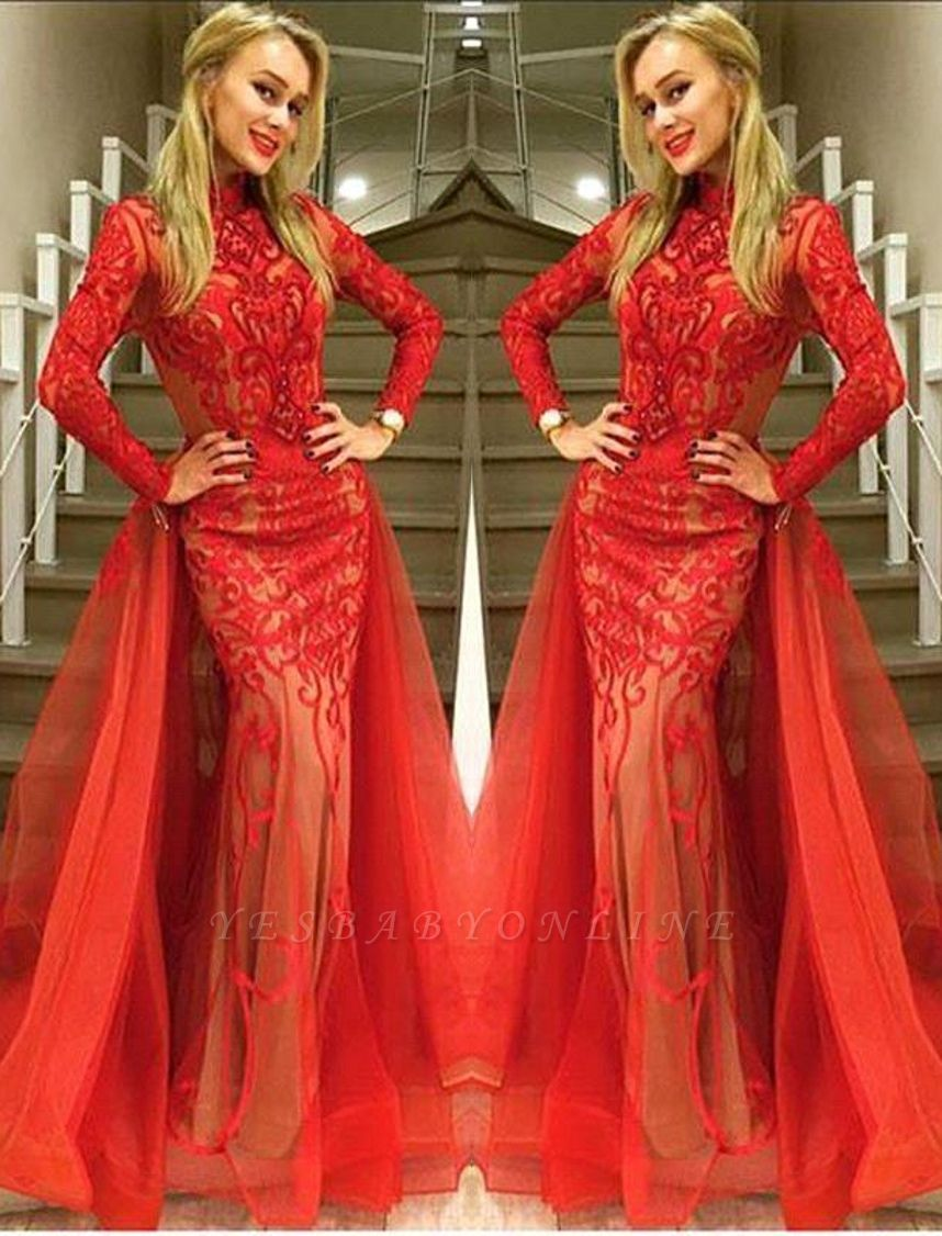 Sexy Red Long Sleeve Evening Dress 2019 Tulle Mermaid Lace