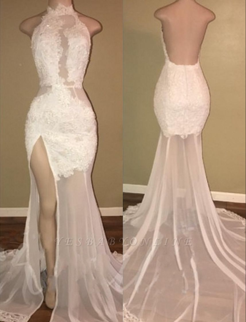 Elegant Lace Slit Prom Dresses | High Neck Backless Evening Gowns