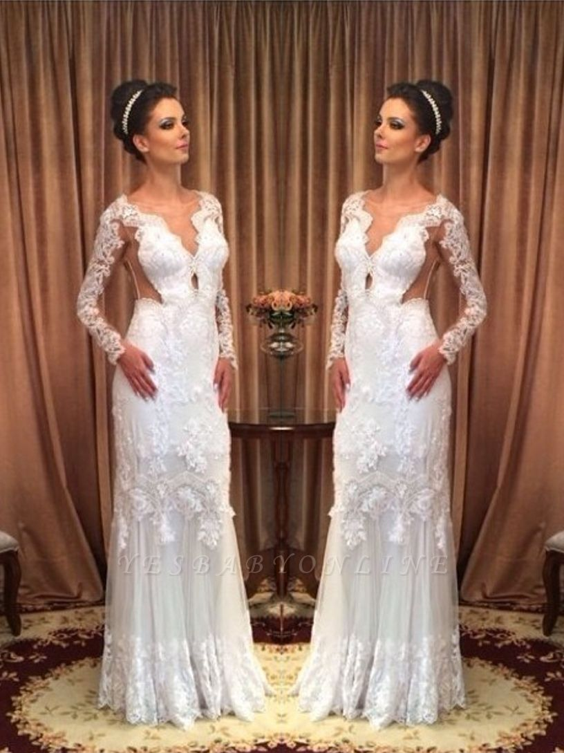 Lace White Long Sleeves Floor-length Sheath Style Wedding Dress