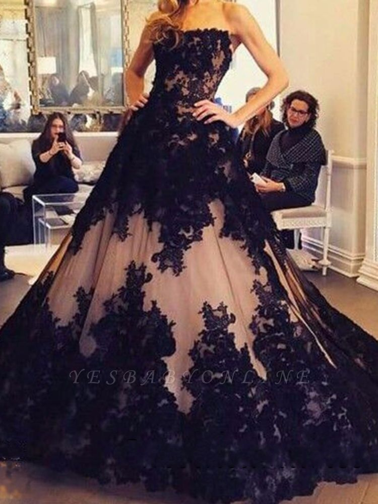 Ball-Gown Tulle Black Strapless Lace New Sleeveless Evening Dresses