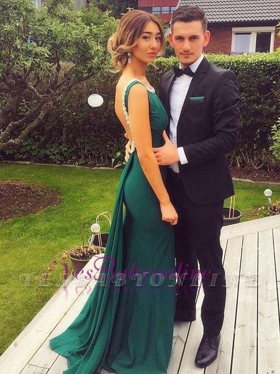 Backless Sheath Green Scoop Peals Elegant Evening Dress