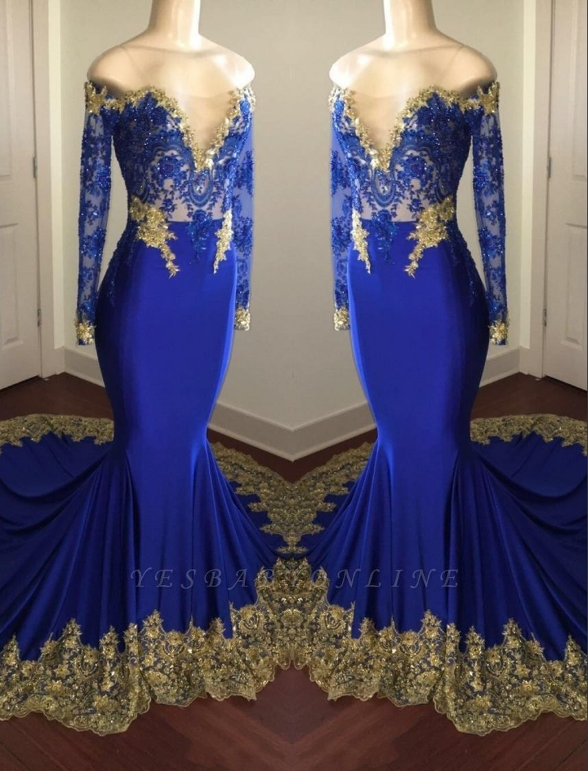 Off-the-shoulder Long Mermaid Prom Dresses   Long Sleeves Appliques Evening Gowns