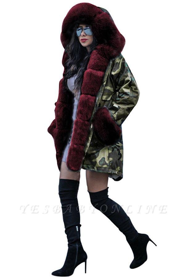 Camo Military Parka Coat with Premium Burgundy Fur Trim