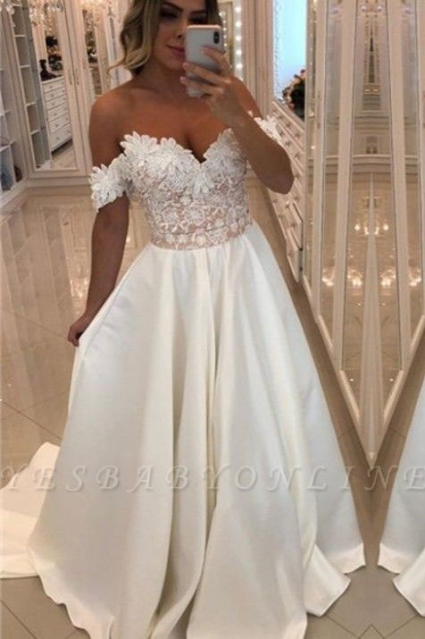 Luxury Off-The-Shoulder Puffy Prom Dresses | Appliques Beaded Long Prom Dresses