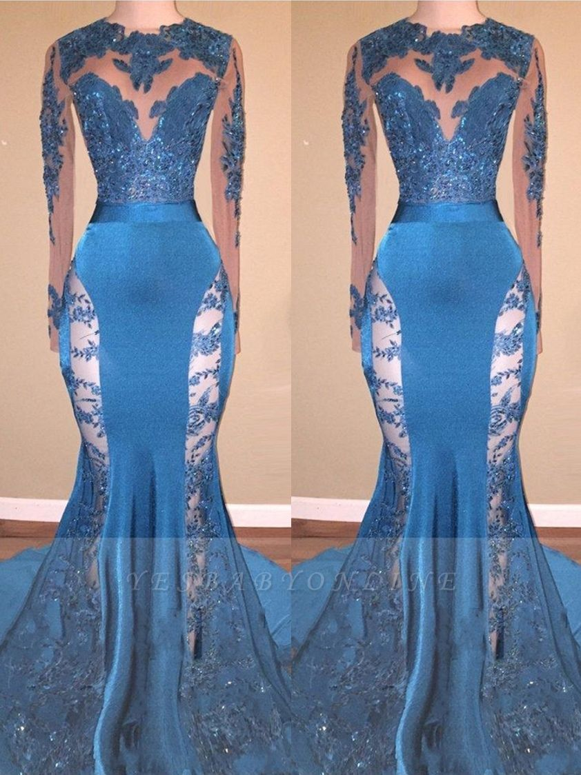 Blue Long Mermaid Lace Prom Dresses   Long Sleeves Hollow Back Evening Gowns