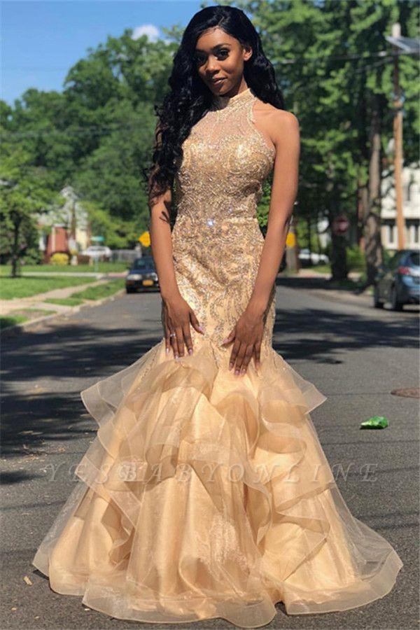 Stylish High Neck Sleeveless Appliques Mermaid Prom Dress