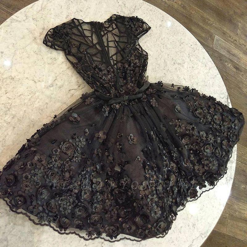 Fashion Cap Sleeves Beading V-Neck A-Line Flower Prom Dress