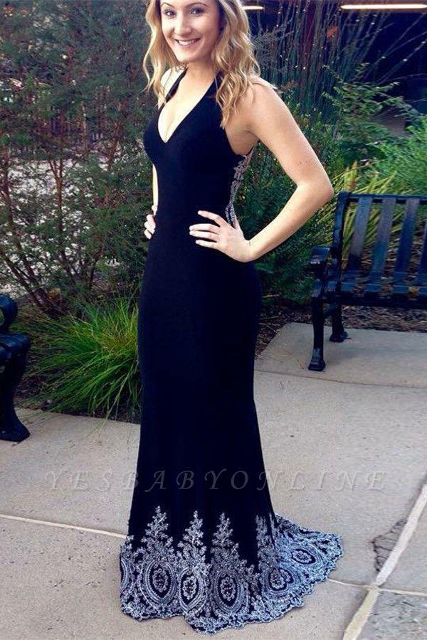 Glamorous Halter V-Neck Sleeveless Appliques Floor-Length Prom Dress