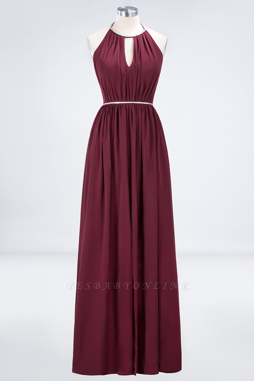 A-line Halter Sleeveless Floor-Length  Bridesmaid Dress with Beading Sash