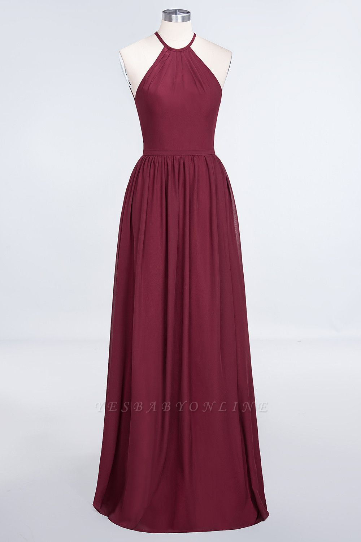 A-Line Halter Sleeveless Floor-Length  Bridesmaid Dress with Ruffles