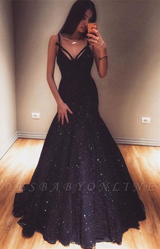 Fashion Spaghetti Straps Sleeveless Mermaid Floor-Length Prom Dress