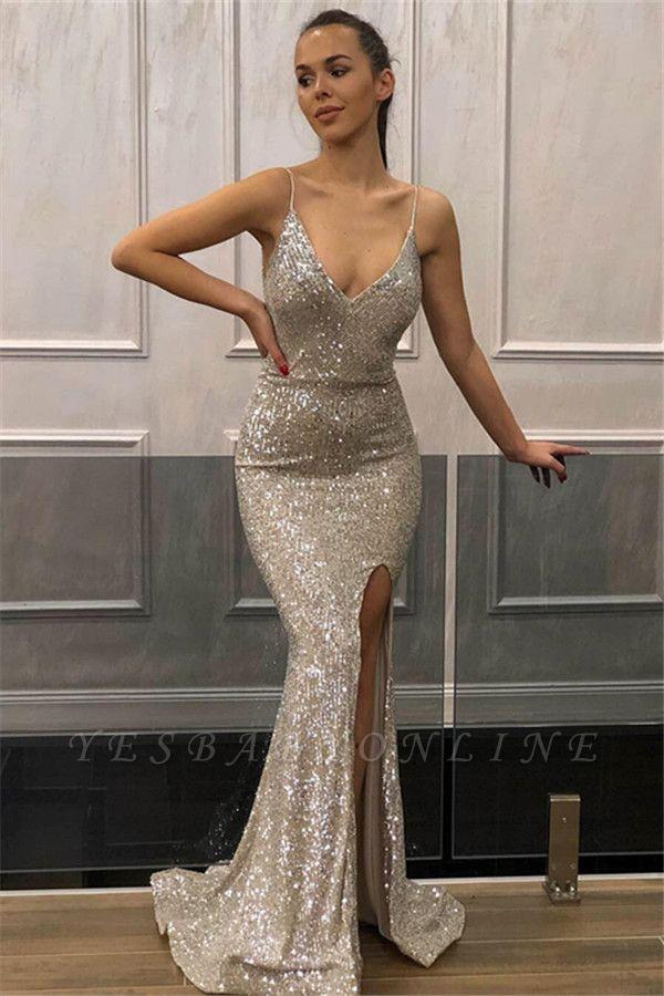 Fashion Sleeveless Spaghetti Straps Front Slipt Mermaid Prom Dress
