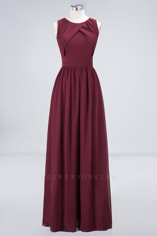 A-Line Round-Neck Sleeveless Floor-Length  Bridesmaid Dress with Ruffles