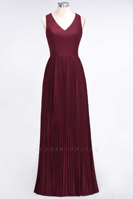 A-Line V-Neck Sleeveless Floor-Length Satin Bridesmaid Dress with Ruffles