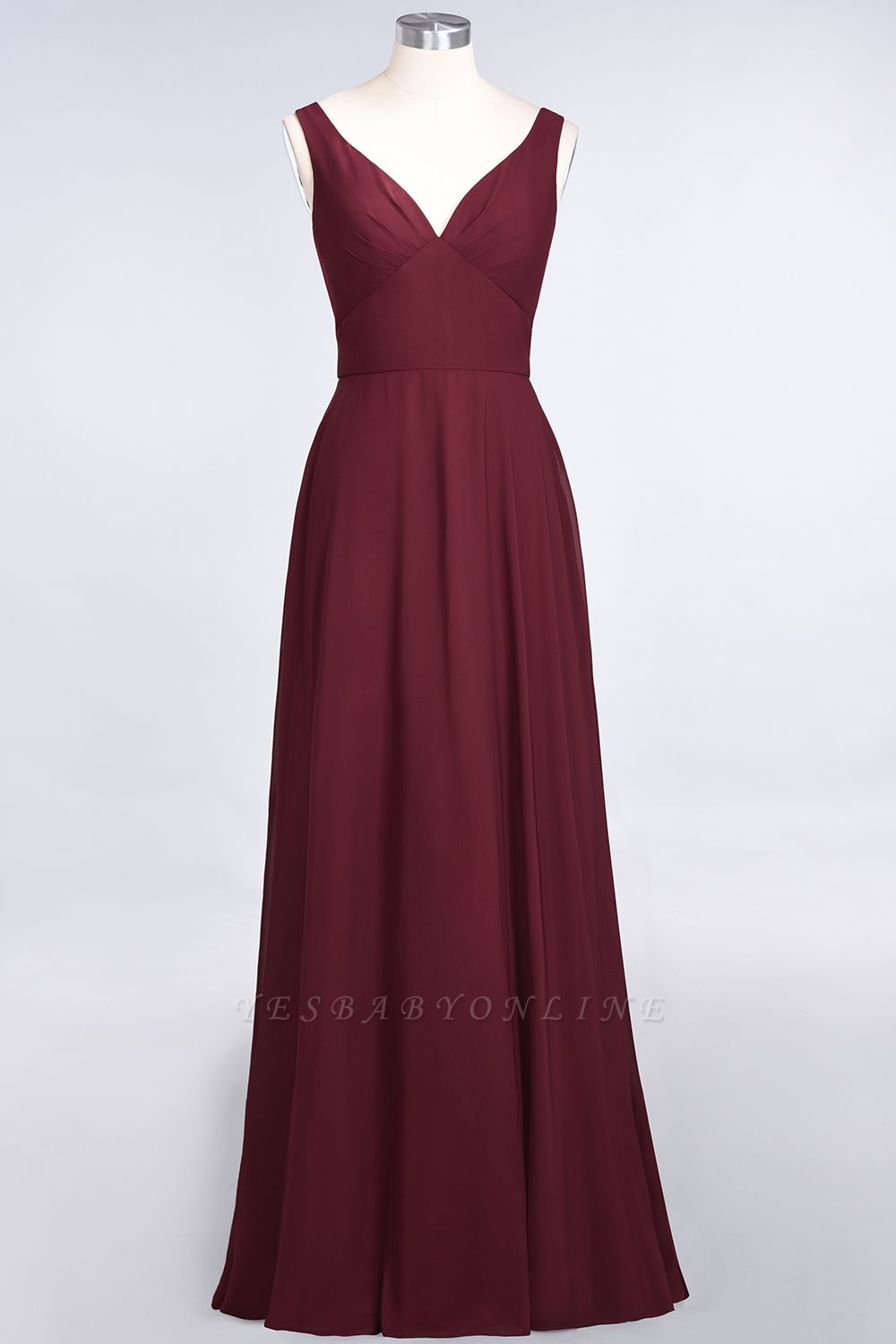 A-Line V-Neck Straps Sleeveless Ruffles Floor-Length  Bridesmaid Dress with Open Back