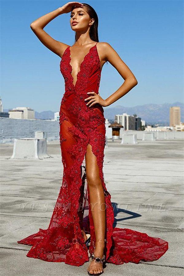 Charming Spaghetti Straps Sleeveless Deep V-Neck Backless Prom Dress