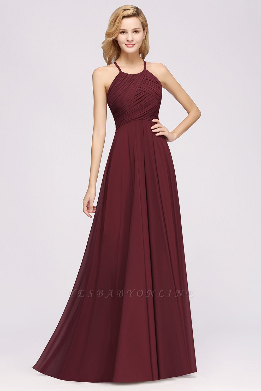 A-Line  Halter Ruffles Floor-Length Bridesmaid Dress