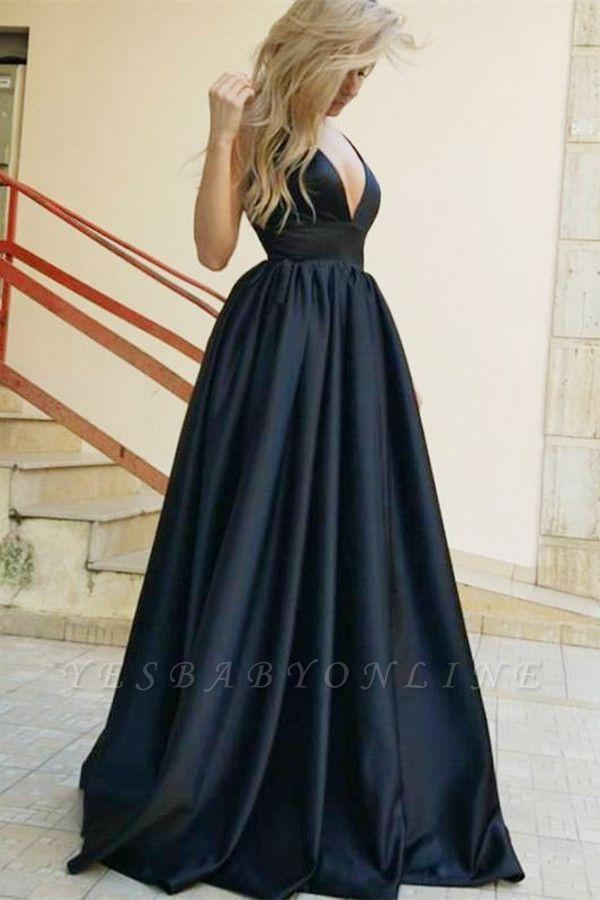 Stylish Straps Sleeveless Deep V-Neck A-Line Prom Dress