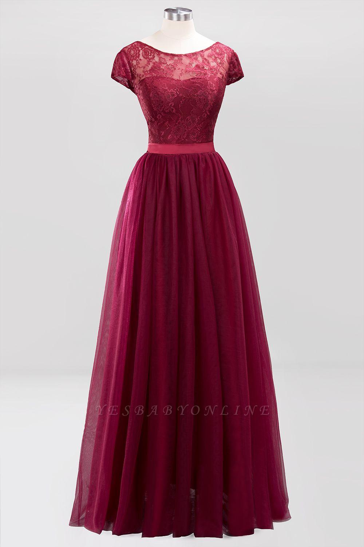 A-Line  Jewel Sleeveless Floor-Length Bridesmaid Dresses with Ruffles